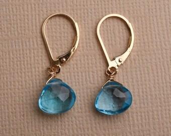 Blue Topaz Earring, December Birthstone, Capri Blue Topaz, Deep Blue Gemstone Earring, Swiss Blue Topaz Earring