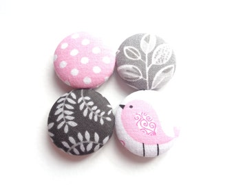 Pink Magnets, Gray Magnets, Fabric Button Magnets, Fridge Magnets, Bird Magnets, Polka Dot Magnets, Eco Friendly, Magnetic Board Magnets