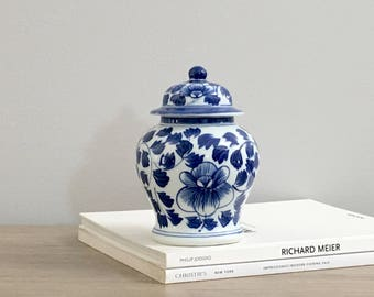 Vintage Blue White Ginger Jar Small Chinese Porcelain Chinoiserie Chic Decor