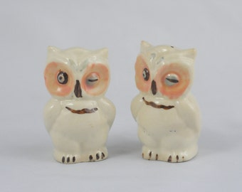 Winking Owl Salt And Pepper Shakers Shawnee Ceramic Vintage Owl Salt And Pepper Shakers