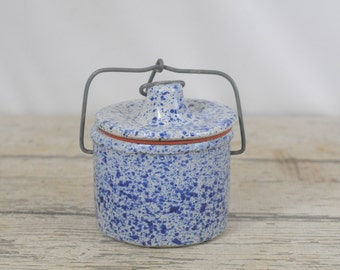 Vintage Blue Speckled Stoneware Cheese Crock with Wire Bail Lid