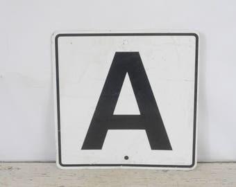 Vintage Metal Letter A Sign Black On White Letter A Metal Sign