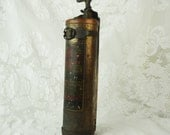 Antique Fire Extinguisher- Fyr-Fyter- Military Jeep fire extinguisher with mounting bracket- Portable- Hand-- Vintage- Early 1900's