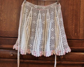 Vintage Apron- Hand Crocheted- Ecru with variegated pink trim- lacy, pretty, romantic- Hostess Gift- Holiday entertaining