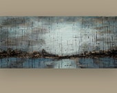 """RESERVED Art,Painting,Acrylic,Abstract, Bright Abstract, Acrylic Painting Canvas by Ora Birenbaum Titled: Quiet Mist 36x84"""" Unstretched"""