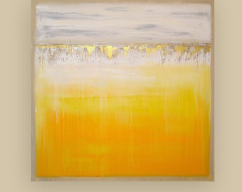 Art, Large Painting, Original Abstract, Acrylic Paintings on Canvas by Ora Birenbaum Titled: Sunlight 2 40x40x1.5""