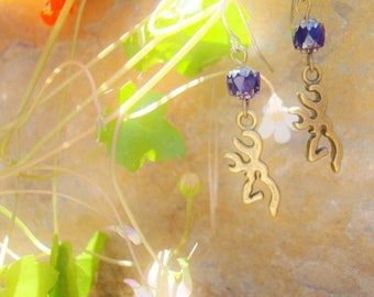 Browning Jewelry,Handmade Earrings,Country Girls Browning Buck Earrings,Deep Blue Glass,perfect for Hunting Outdoor Cowgirls,Made in the US