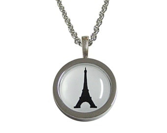 Bordered France Eiffel Tower Pendant Necklace