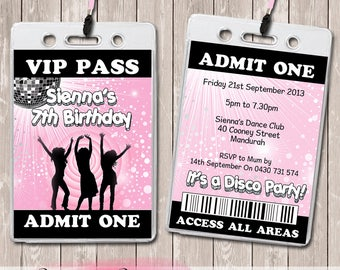 Disco VIP Lanyard Birthday Invitations x 10