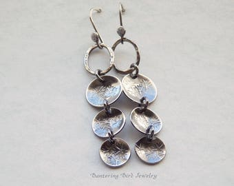 Long Hammered Silver Dangle Earrings with Stamped Flower Texture on Fine Silver Hammered Hoops, Oxidized Sterling Silver Rain Chain Earrings