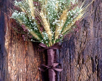Simple Marsala Wheat and Baby's Breath Bridal Bouquet - Dried Wedding Bouquet - Wheat & Baby's Breath