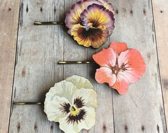 Flower Hair Accessory Pansy Barrette Pin Pansies Viola Garden Jewelry Gifts for Gardener