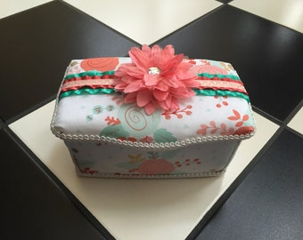Boutique Diaper Wipes Tub Wipes Container Coral Pink Mint White Floral Nursery