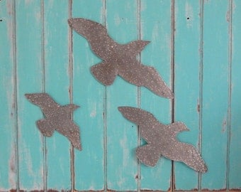 Hammered Metal Seagulls Wall Decor 3 Pc Set Beach Cottage Chic Coastal Nautical Decor