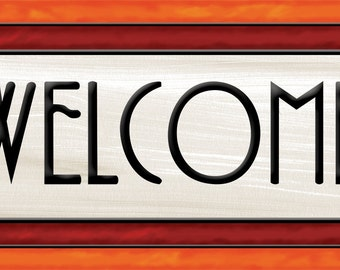Welcome Sign, Arts and Craft Stained Glass Look, Craftsman Style Welcome Sign, 2 Sizes, 2 Colorways