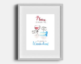 Headed to Wonderland (Red Wine) - Watercolor Print - Unique Funny Art - Minimalist Painting