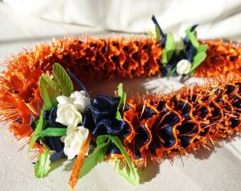 Hawaiian Ribbon Lei Orange and Navy Blue Grosgrain Sparkles