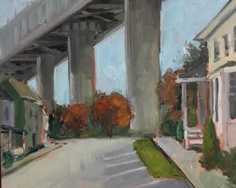 Original art-Urban landscape-Oil painting-Contemporary art-Plein air painting-