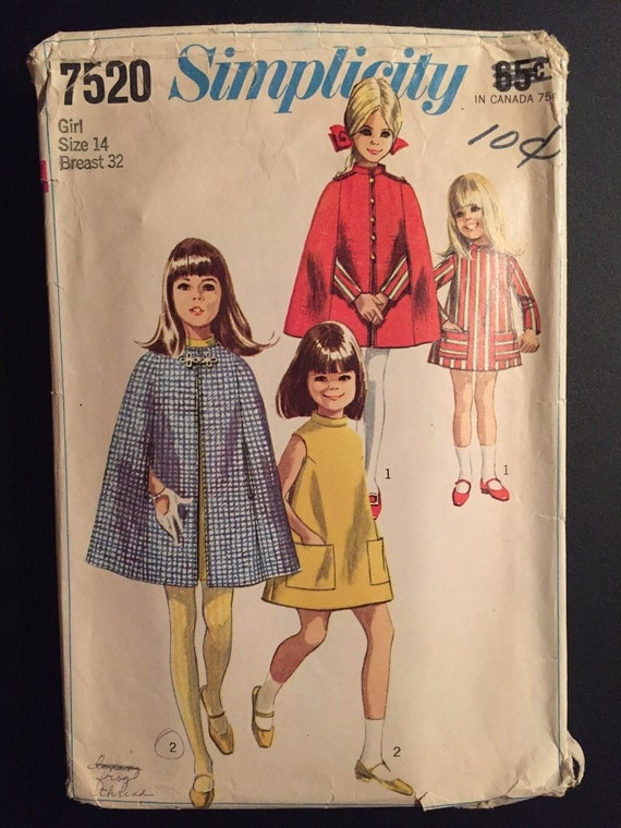 Simplicity Sewing Pattern 7520 60s Girl's Cape and Dress Size 14