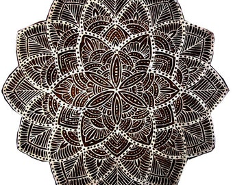Big Mandala Hand carved Stamp for Printing - Textile and Paper Printing Stamp - Block Printing Supply - SCrapbooking - Gift for Her - Gifts