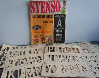 vintage 1960s stenso alphabet stencils number stencilstypography outline letters fill in letters