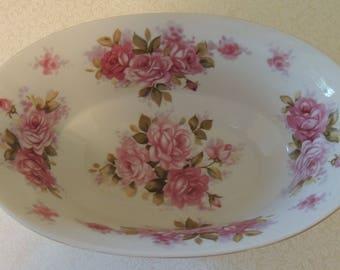 "Vintage Rose Covered 9"" Bowl Andrea by Sadek 8118 Deep Oval Potpourri Bowl Serving Bowl Romantic Table Wedding Table"