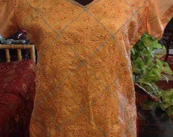 Vintage 1990s Boho Afghan Brown Gold with Sequin Dress