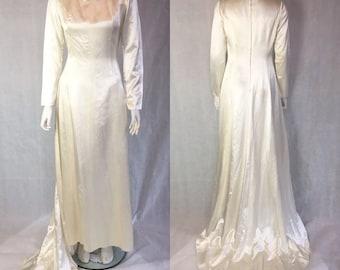 Vintage slipper satin wedding dress with train