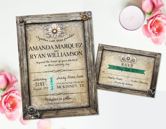 Rustic Wedding Invitation RSVP Card White Daisy Flowers DIY ...