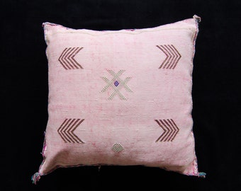 Moroccan Pink Sabra Cactus Pillowcase Home Accessory Couch Accents Bedroom Pillow Kilim Sabra Silk Pink Color