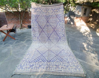 Vintage Moroccan Large Boujad Boujaad Rug Moroccan Carpet Berber Rug Bohemian Decor - FREE DOMESTIC SHIPPING