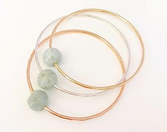 Bangle Keike - Jade bangle- floating jade bead bangle- Jade bracelet- Rose gold Jade bangle. (B101)