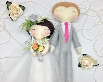 Personalized dolls, Just Married, bride and groom, wedding keepsake, cake topper just married, tie the knot, felt wedding decoration.