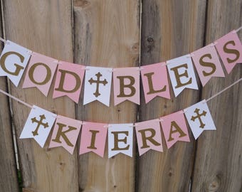 God Bless Banner - White, Pink And Gold Glitter Ombre Banner For Christening, Baptism, First Communion  - Personalize With Name