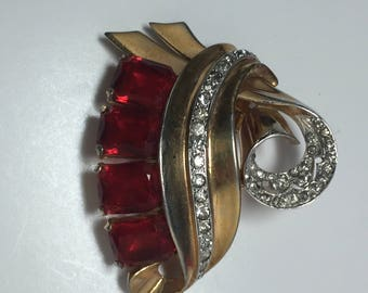 MAZER 1930s Dress Clip Red and Clear Rhinestones.  Item: 17459
