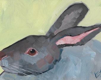Little Grey Rabbit Original Oil Painting