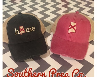 Alabama or Alabama Home Distressed Trucker Cap