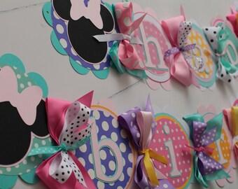 Minnie Mouse Happy Birthday Banner, minnie's bow-tique birthday Banner, minnie Party Decorations, minnie's bow-tique Party Decor