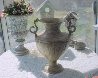 Vintage Metal Urn Aged Distressed Classic Design Rusty French Country Farmhouse