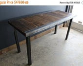Limited Time Sale 10%OFF 30x60 Industrial Dining Table with raw steel trim and straight steel legs seats 6