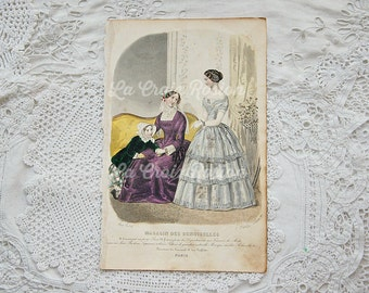 Antique French fashion plate, antique engraving, vintage book plate, fashion illustration, hand tinted, hand colored, ORIGINAL 1800s, No. 9