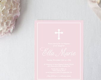 Pink Baptism Invitation - 5x7 Christening Invitations - Printed or Printable - Free Shipping