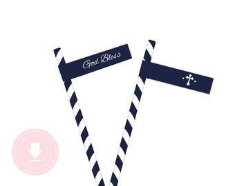 INSTANT DOWNLOAD First Communion Straw Flags (Baptism Straw Flags, God Bless Straw Flags, Printable Straw Flags, Boys Religious)