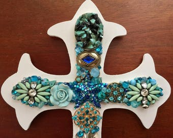 Beautiful Handcrafted TURQUOISE BLUE & WHITE Jeweled Cross Sculpted Vintage Jewelry - Wall Art - Shabby Chic Turquoise Aqua Blue Cross