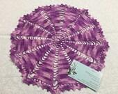 Vintage 13 inch round Purple Hand Crochet doily for crafts, shabby chic, housewares, linen, trim, valentines, by MarlenesAttic