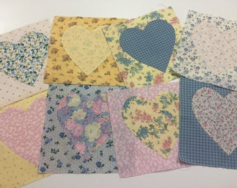 Valentines Fabric Squares, Set of 8 Fabric Squares, Heart Fabric Squares by Marlenesattic