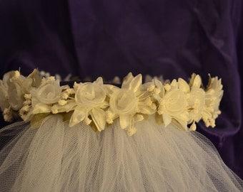 Tiara Head Piece With Organza Flowers