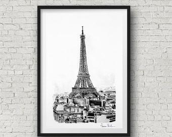 Paris decor - Eiffel Tower decor Paris wall Decor - Paris France Gift - Paris watercolor