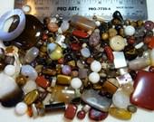 SALE - Destash - Semi-Precious Stone Lot - variety - browns, creams - beads SP894