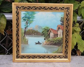 Vintage Oil on Canvas Boat Canoe Landscape River Lake Pond Mountain Scene Oil Painting Asian Oriental